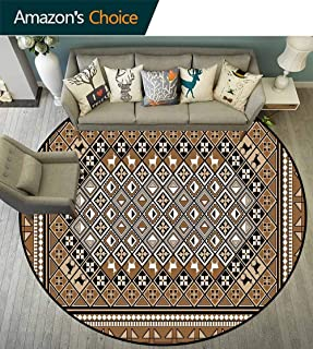 Turkish Pattern Round Rug Easy to Clean,Geometrical Ethnic Eastern Frame with Diagonal Checks and Deer Stain Resistant & Easy to Clean,Pale Brown White Black,D-43
