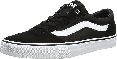 Amazon.com: VANS Milton Shoes UK 7 Suede Canvas Black White : Ropa ...