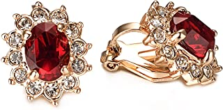 VOGEM Vintage Wedding Earrings Sparkly Red Ruby Crystal 18K Rose Gold Plated Clip On Earrings For Women