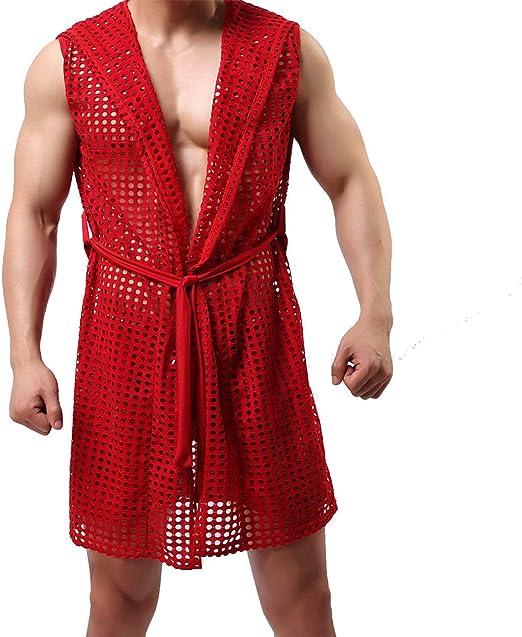 Details about  /Mens Fishnet Bath Robe Dressing Gown Pajamas Loungewear Nightwear Hooded Yellow