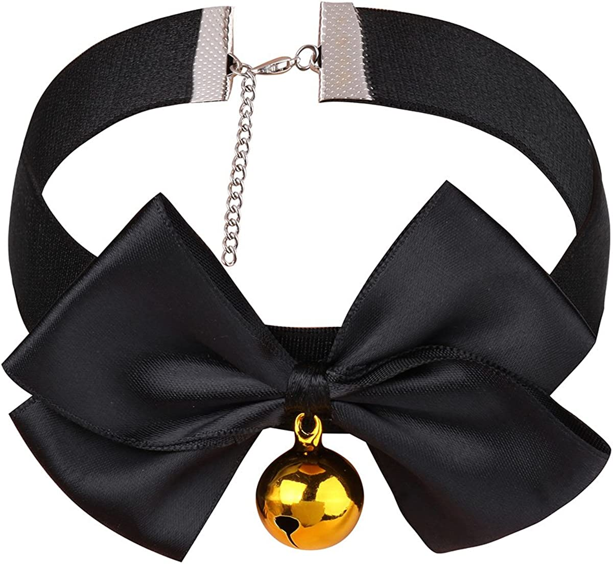 YiZYiF Black Ribbon Bow & Bell Choker Collar Necklace Anime Costume Cosplay Accerssory