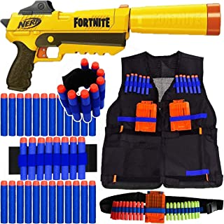 Kit Arma Nerf Fortnite Sneaky + Colete + Acessórios + 60 Dardos