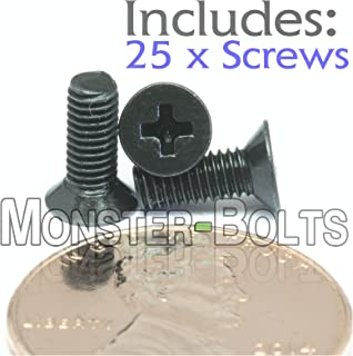 (25) M3-0.5 x 8mm - Phillips Flat Head Machine Screw (Countersunk) Class 4.8 Carbon Steel w Black Oxide Cross Recessed Type H Metric DIN 965 - MonsterBolts (25, M3 x 8mm)