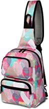 Daxvens Travel Crossbody Backpack for Women, Ladies Hiking Sling Bags, Girls Single Shoulder Daypack Floral Solid