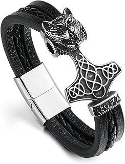 Jovivi Men's Viking Jewelry North Viking Celtic Thor's Hammer Mjolnir Bracelet Leather Cuff Bangle with Magnetic Buckle