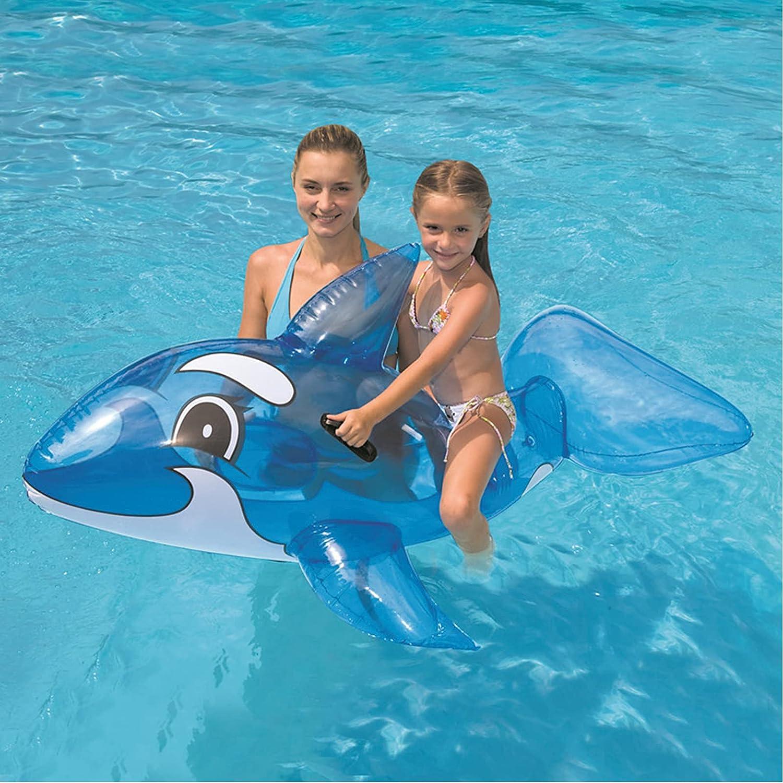 HUWENJUN123 Piscina de Ballenas Inflable Ride-On, Juguete Flotante Inflable de delfín Inflable para niños para Fiestas Infantiles, Vacaciones en la Playa para Mayores de 3 años