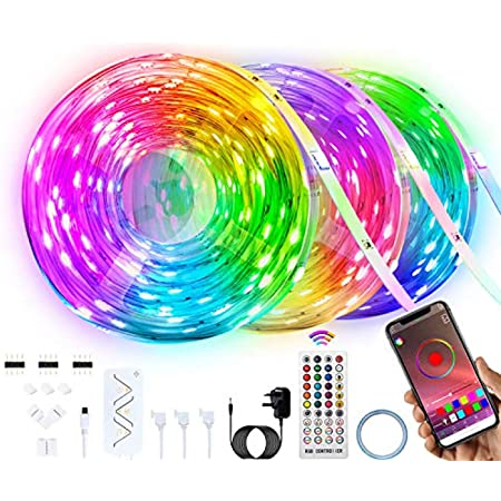 LED Strip Lights, hongrui 15M/49.2FT RGB LED Lights Strip Music Sync,with 40-Keys IR Remote+APP Controller Flexible 5050 RGB LEDs Light Strips Kit for Bedroom, Home, TV, Party