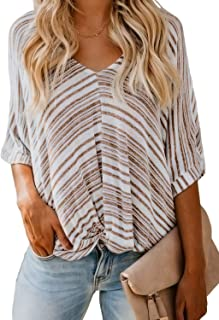 Womens V-Neck Twist Knot Front Short Sleeve Striped Tops Blouses