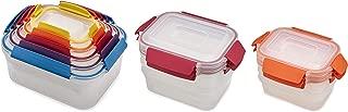 Joseph Joseph 96015 Nest Lock Plastic Food Storage Container Set with Lockable Airtight Leakproof Lids, 22-piece, Rainbow