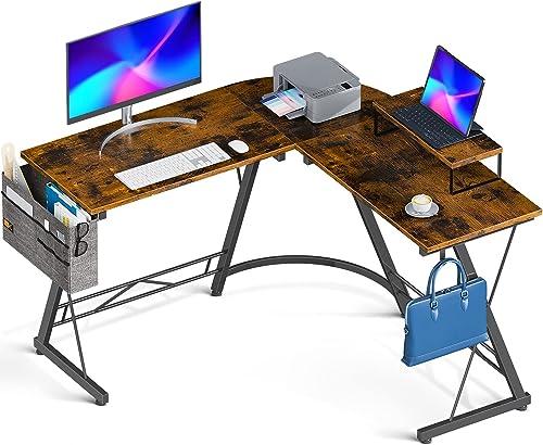 """high quality Casaottima L Shaped Desk, 51"""" Gaming Desk, Computer Desk, L Desk, Home Office Desk with Iron online sale Hook, Movable Monitor Stand online Workstation, Black online sale"""