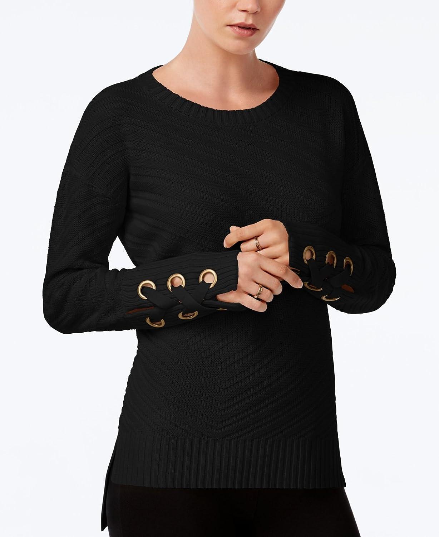 Bar III HighLow GrommetDetail Sweater (XL, Black)