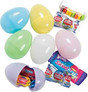 Candy Filled Easter Eggs (bulk set of 24 pastel eggs) Easter Hunt Party Supplies