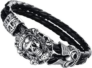 ChainsPro Bracelet Homme Manchette avec 5MM Corde Tress/ée Bracelet Gourmette en Noir//Brun Taille 18//20//22cm Bracelet Cuir pour Homme Femme Bijoux Corps Motard Punk Rock Fantaisie avec Bo/îte Cadeau