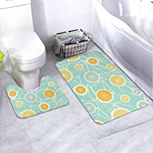 Bath Rug Set 2 Piece BathroomOrnate Circles Mat Sets Non Slip Microfiber Bath Shower Mat U-Shaped Toilet Rug Combo Set (35...