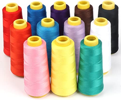 All Purpose Sewing /& Quilting 100/% polyester Thread 12 Spools110 yards each whit