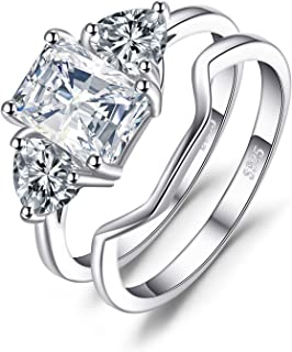 Wedding Rings Bands Solitaire Engagement Rings For Women Anniversary Promise Ring Bridal Sets 1.3ct Emerald Cut 3 Stones Cubic Zirconia 925 Sterling Silver Ring Sets