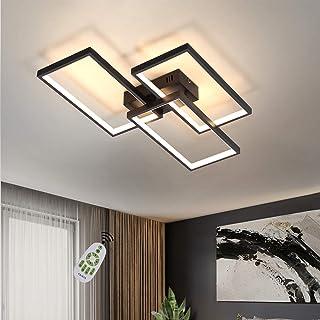 CBJKTX Lámpara de techo LED regulable con mando a distancia, 63 W, color negro, lámpara de salón de metal, diseño moderno para dormitorio, comedor, salón, despacho, pasillo u oficina