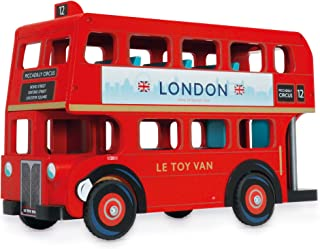 Le Toy Van Cars & Construction Collection London Bus with Driver Playset Premium Wooden Toys for Kids Ages 3 Years & Up