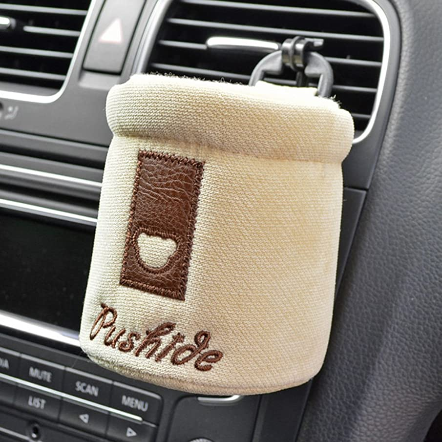 Tianmei Simple Fasion Styling Car Air Vent Cell Phone Pouch Driver Pocket Pen Holder Storage Bag (Flannelette - Beige Color)
