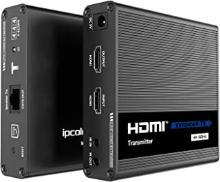 WeJupit 4K@60Hz HDMI Extender by Single Cat6/6A/7, 230Ft Zero Latecny Uncompressed Transmitter and Receiver, HDR 18Gbps, H...