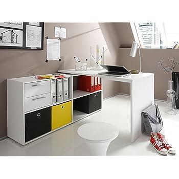 möbelando Eckschreibtisch Winkelkombination Schreibtisch Arbeitstisch Bürotisch Yihabo I in weiß