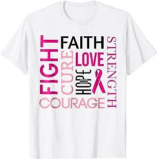 Breast Cancer Fight Tshirt FAITH LOVE HOPE Pink Ribbon Tee