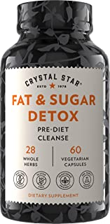 Crystal Star Fat & Sugar Detox (60 Capsules) – Herbal Diet Cleanse & Metabolism Boost Supplement to Help Release Fat & Cur...