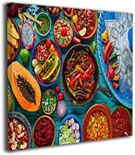 Mexican Food Mix Background Oil Paintings On Canvas Modern Square Stretched and Framed Artwork Ready to Hang Wall Art for Home Office Wall Decor 12