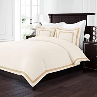 Sleep Restoration Luxury Soft Brushed Embroidered Microfiber Duvet Cover Set with Beautiful Trim & Embroidery Details - Hypoallergenic - Full/Queen - Cream/Gold