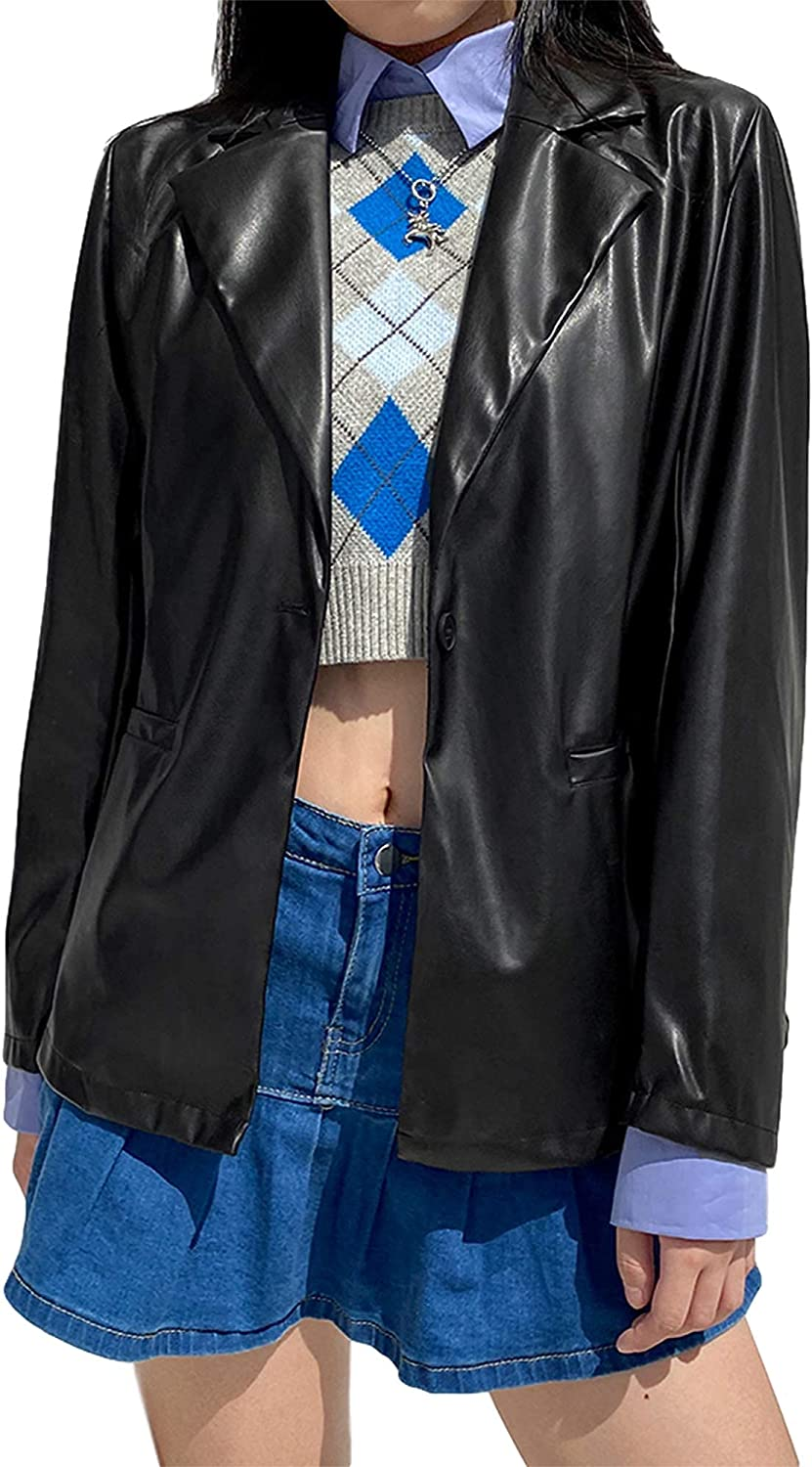Women PU Leather Blazer Casual Faux Leather Coat Open Front Cardigan Office Jacket with Pocket