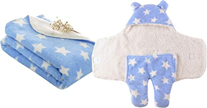 My Newborn Combo Of 2 Soft Baby Wrapper Blanket And Sleeping Bag -Sky-Wrapper Spread