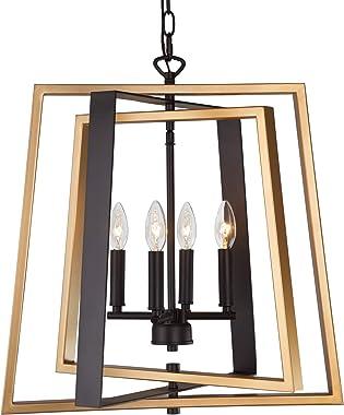 LNC Farmhouse Pendant, Gold & Black Modern Chandelier for Dining Room, Foyer with Adjustable Rectangular Frames, 4-Light, W20