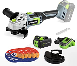 Sponsored Ad – WORKPRO 20V Cordless Angle Grinder 125mm, 7500rpm, 4.0Ah Lithium-ion Battery and Fast Charger, 5PCS Cutting...