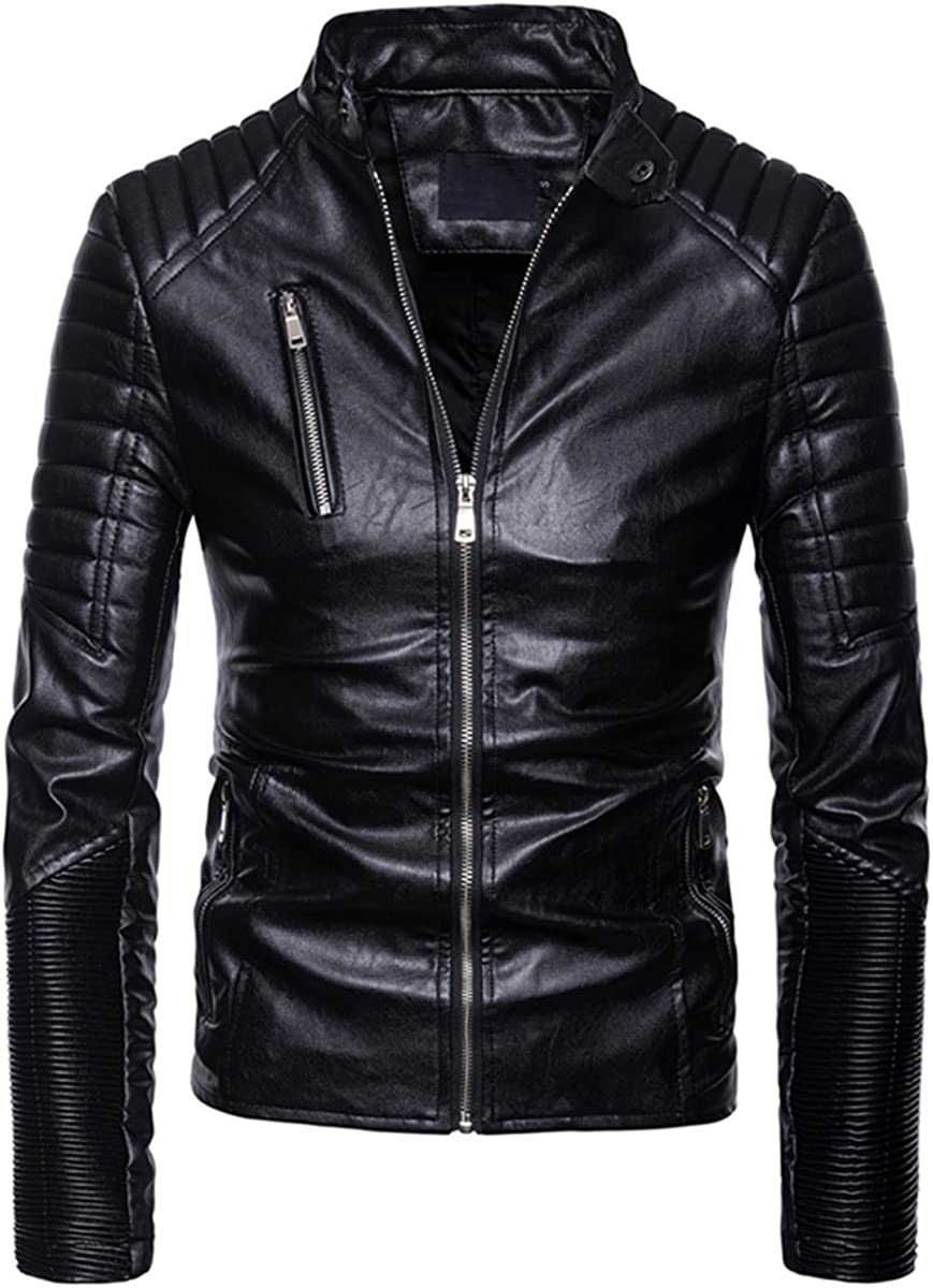 AOWOFS Limited price Mens Faux Leather Jacket Multi-Zipper Punk Sli Motorcycle Max 58% OFF