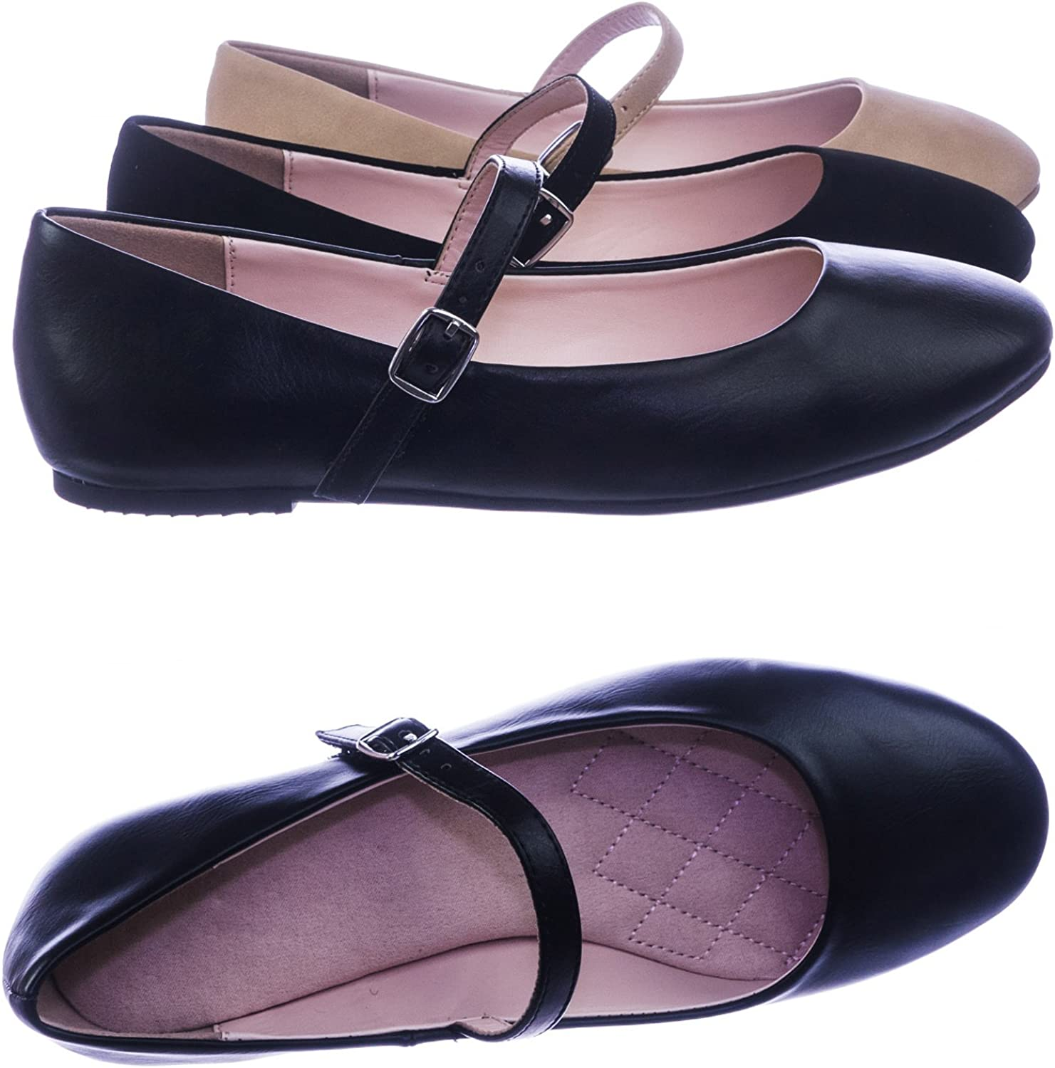City Classified Comfort Women Comfortable Padded Mary-Jane Round Toe Ballet Ballarina Flats