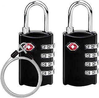 TSAロック 南京錠TSA鍵 ワイヤーロック 4桁ダイヤル式ロック 安心 防犯グッズ アメリカ安全運送局認定 旅行用 荷物スーツケース用 自転車鍵 ワイヤーロープ付き 2個セット