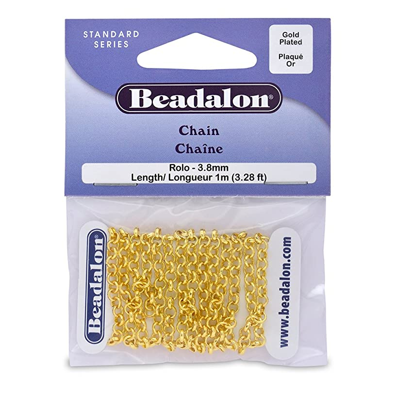 Artistic Wire Beadalon Chain Rolo 3.8mm Gold Plated, 1-Meter