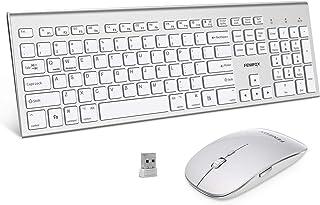 مجموعة لوحة مفاتيح وفأرة لاسلكية، نظام FENIFOX المزدوج التبديل مريح مزدوج كامل الحجم USB هادئ متوافق مع كمبيوتر مكتبي ماك ...