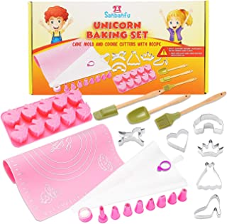 Sanbanfu Fun Real Baking Set with Kids Unicorn Cookie Cutters Unicorn Mold, Kid Size Kitchen Baking Tools,Baking Toys for Todders Girls Boys,Silicone Mat with Measurements, Recipes