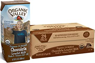 Organic Valley, Chocolate Milk Boxes, Shelf Stable 1% Milk, Healthy Snacks, 6.75oz (Pack of 24)