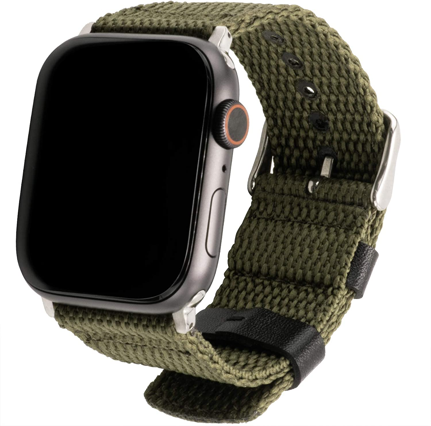 Nylon Bands Compatible with Apple Watch 42mm 44mm Quality Nylon Soft and Breathable Wristband Green Nylon Military Style Strap with Silver Buckle iWatch Series 6/5/4/3/2/1(Green)