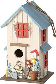 CasaJame Pajarera de madera, multicolor y azul, para jardín, nido, casa para pájaros, pajarera, decoración de balcón, 15 x...