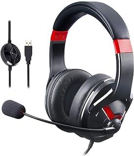 Amazon Basics   Gaming Headset, mit Mikrofon für den PC, Rot