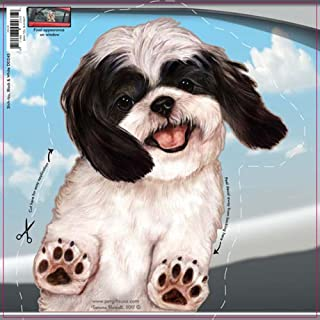 Black/White Shih Tzu - Dogs on the Move Car Vinyl Window Decal Cling Sticker