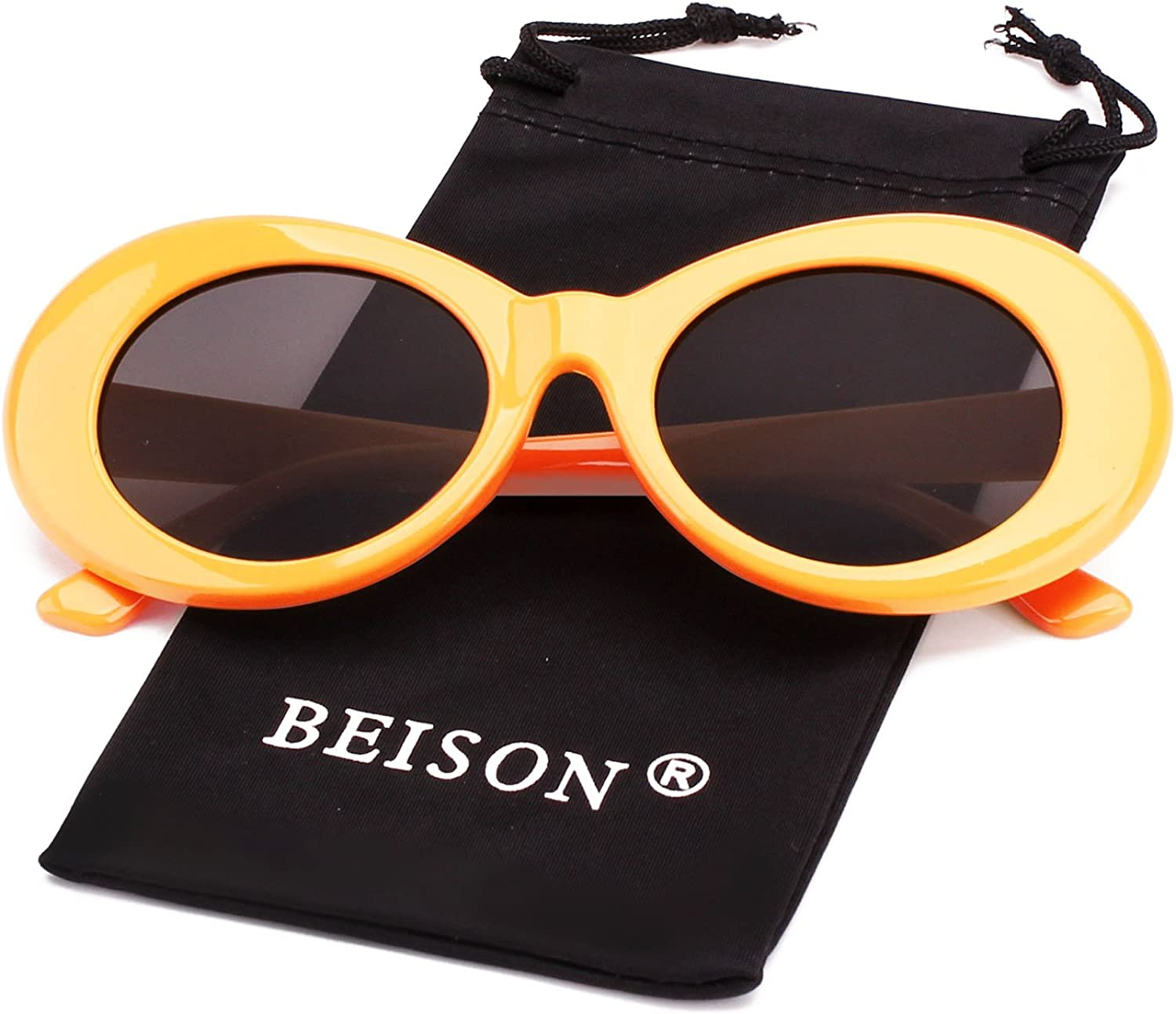 Beison Womens Mens Cat Eye Bold Retro Oval Sunglasses Thick Frame
