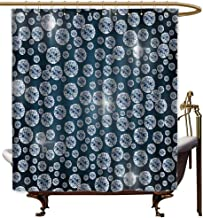 Godves Bathroom Curtains,Diamond Decor Diamonds Backdrop Carbon Atoms in Cubic Structure Superlative Physical Objects Art Work,Art Print Polyester,W55x86L,Silver Dark