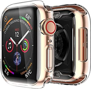 Hamee Shock Proof Sleek Armor Case Bumper Compatible with Apple Watch 40 mm Screen Protector Soft TPU All-Around Cover iWatch Case for Apple Watch Series 5 (Clear, 40mm)