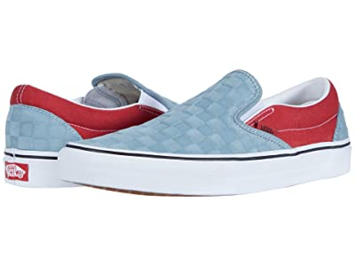 Vans Classic Slip-Ontm ((Deboss Checkerboard) Lead/Pompeian Red) Skate Shoes