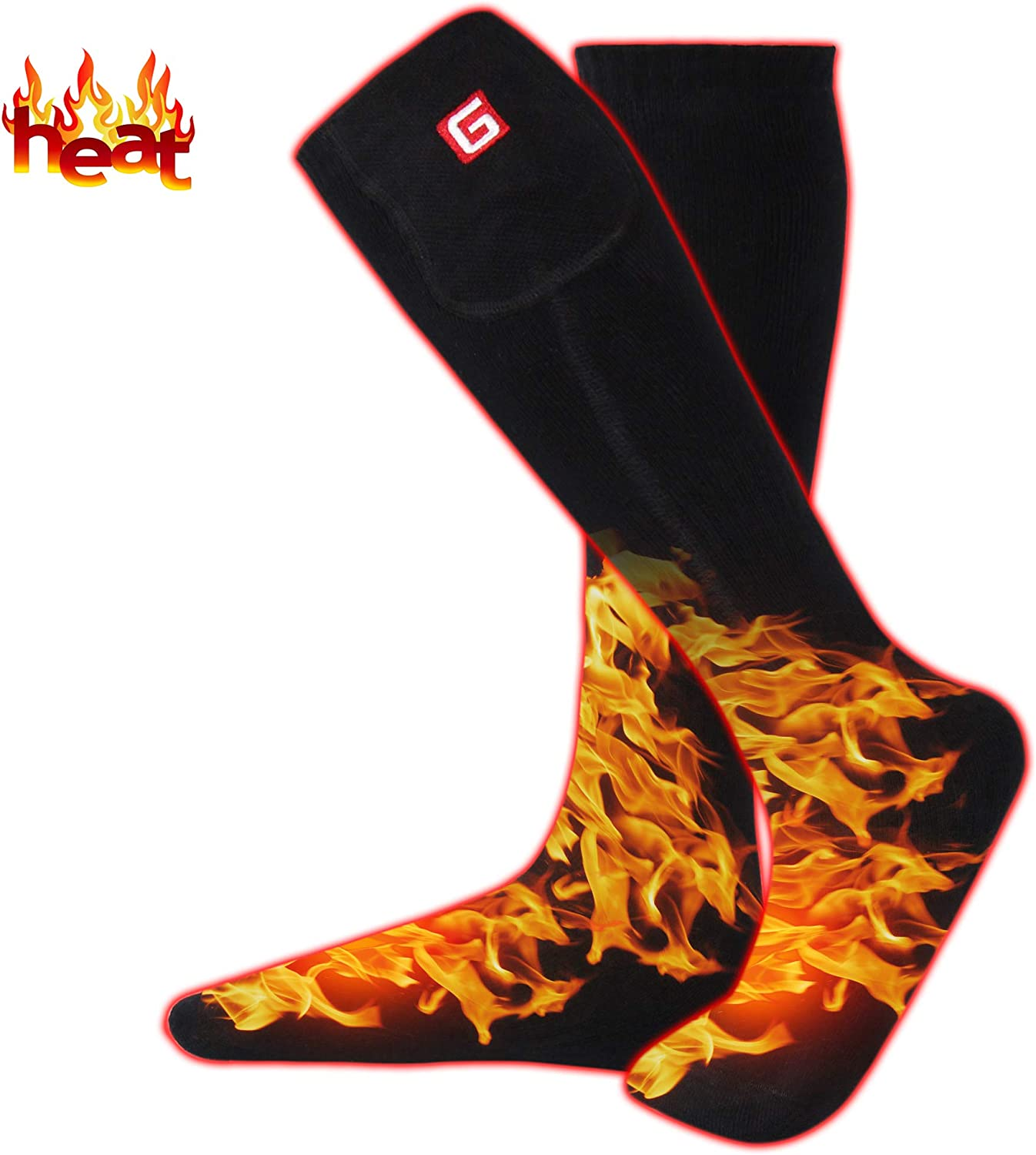 Rechargeable Battery Heated Socks Thick Knitting 3.7V Electric Heated Socks,Winter Unisex Socks Ideal Gift for Men & Women Perfect for Fishing Hiking Sleeping Free Size