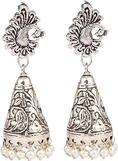 Sansar India Bollywood White Beaded Peacock Stud Cone Jhumki Jhumka Indian Earrings Jewelry for Girls and Women
